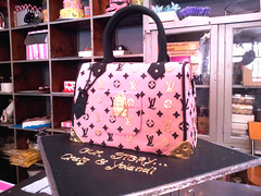 2f7413a72cd2 3D Louis Vuitton handbag shaped cake in Chanel pink fondant icing with black    gold detail ...