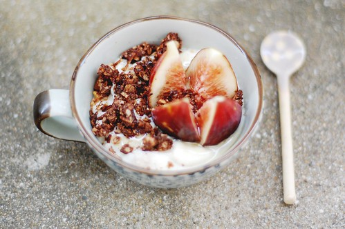 soy yoghurt, fresh fig & chocolate coconut granola.