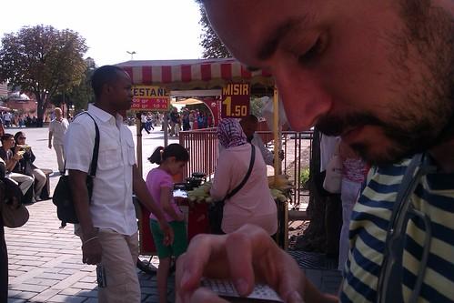 Puesto de castañas en Estambul