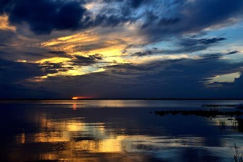 sunset sky sun lake water thegalaxy