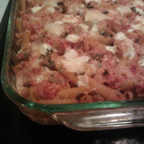 Fall is baked ziti season. This one has eggplant, too!