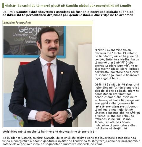 Ministri Saraçini do të marrë pjesë në Samitin global për energjetikë në Londër