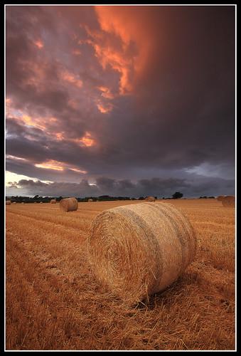 sunset storm northumberland haybale heddon