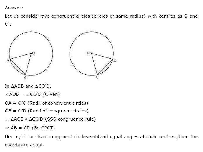 NCERT Solutions For Class 9 Maths Solutions Chapter 10 Circles PDF Download 2018-19