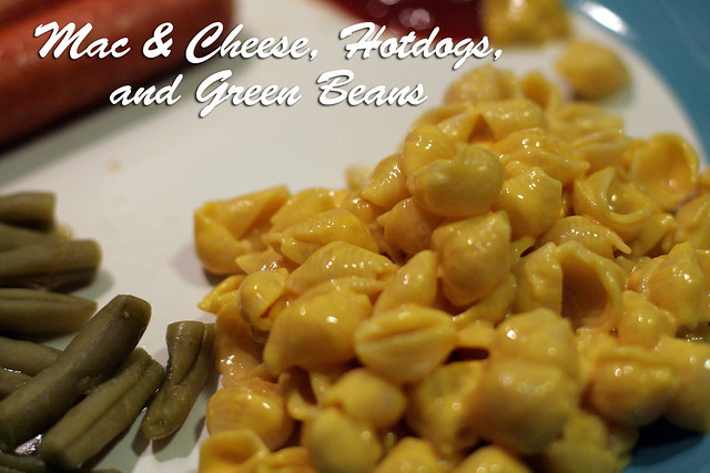 Mac and Cheese, Hotdogs, Green Beans