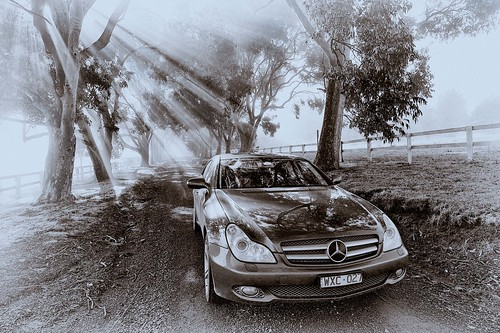 Benz in fog