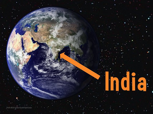 The arrow points to India