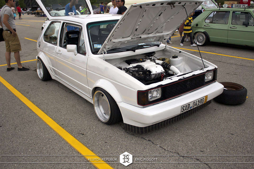 white vw mk1 gti golf rabbit borbet type a at midwest treffen 2012 3pc wheels static airride low slammed coilovers stance stanced hellaflush poke tuck negative postive camber fitment fitted tire stretch laid out hard parked seen on klutch republik