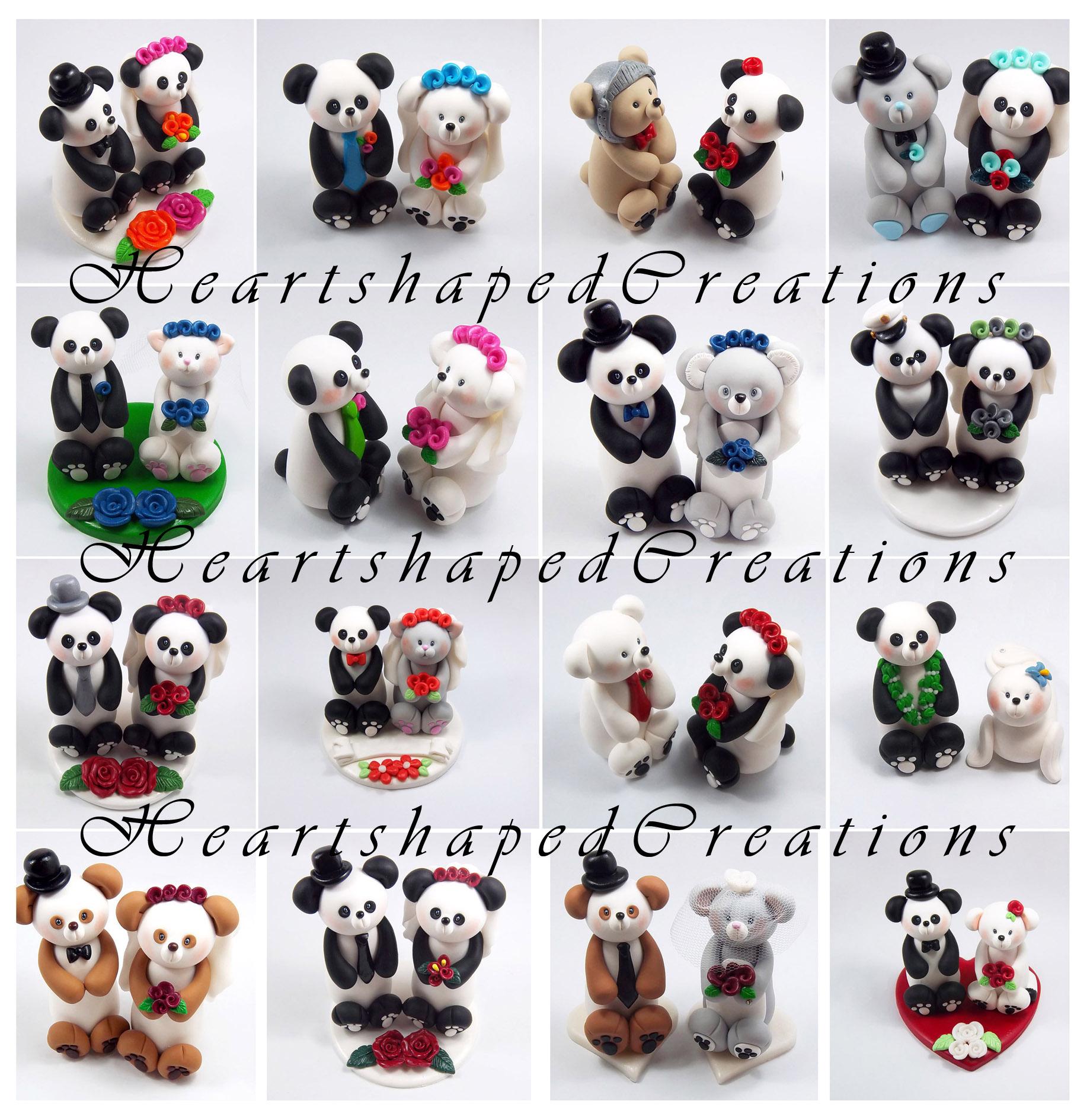 Panda Themed Wedding Cake Toppers