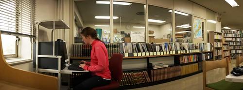 Waiting out the rain and using free internet at the Teshikaga Public Library (Teshikaga, Hokkaido, Japan)