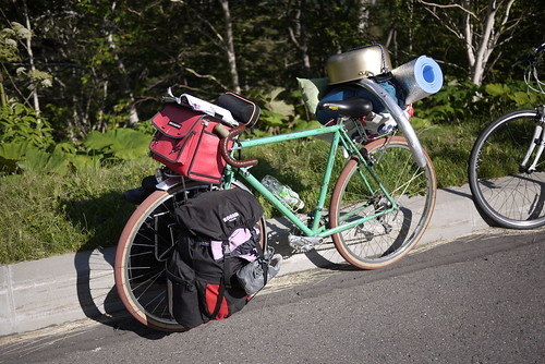Bicycle of Japanese university student at top of Mikuni Pass (Hokkaido, Japan)