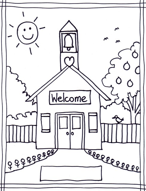 free black and white school house clipart - photo #30