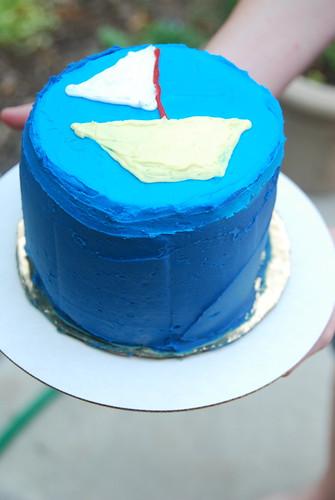blue sailboat cake