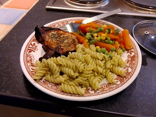 My second dinner in England: pork, pasta, steamed vegetables