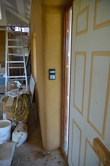 Front door light switches and thermostat