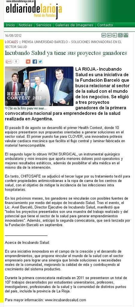 El Diario de la Rioja - Incubando Salud ya tiene sus proyectos ganadores -  16.08.12