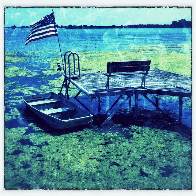 Flag Flies Over the Green Muck of Monona Bay