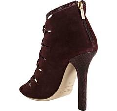footwear, shoe, high-heeled footwear, maroon, suede,