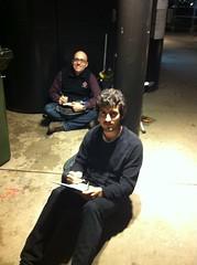 Hard core sketching on a wet freezing Friday night:David and Nono(from Malaga)