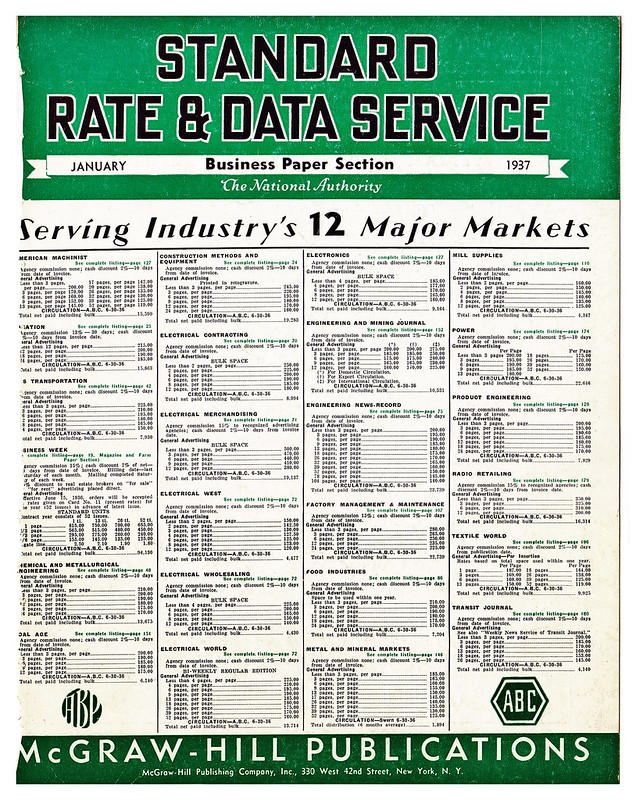 Standard Rate & Data Service Business Paper Section January 1937