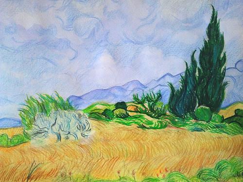Campo de trigo con cipreses. Vincent Van Gogh