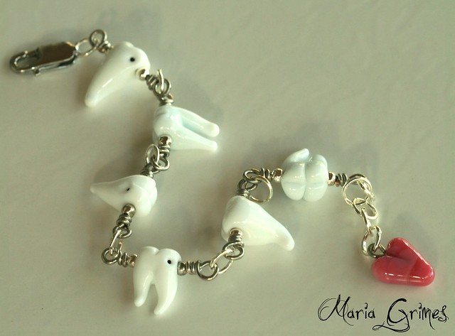 Lampwork Teeth Chattering Bracelet