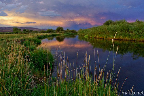 ranch sunset sky mountain color reflection field grass clouds creek colorado w meadow pasture alpenglow gunnison tomichi