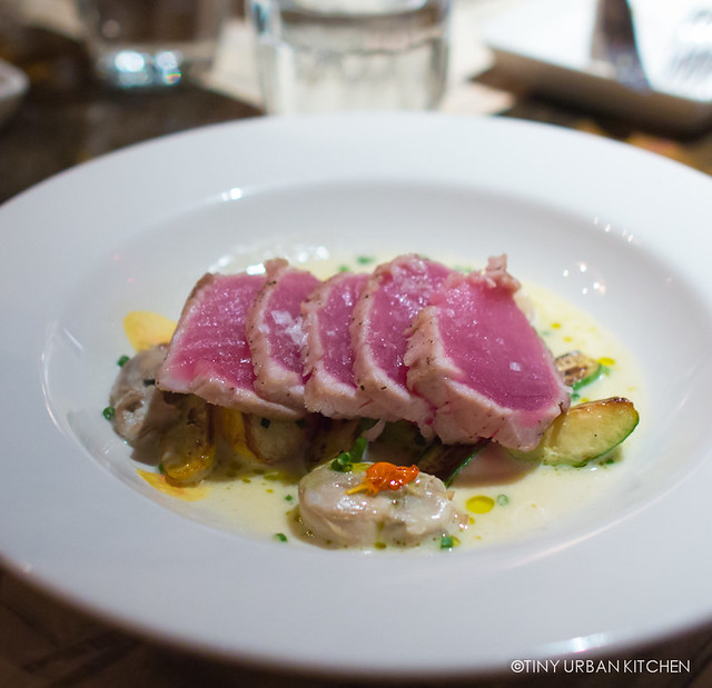 SEARED RAW TUNA LOIN* 30 Rappahanock Oyster Veloute, Baby Summer Squash Blossoms
