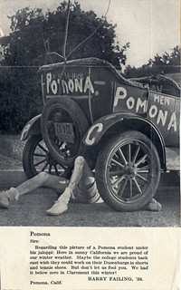 A Pomona College student underneath a car in 1937-38