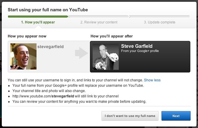 Start using your full name on YouTube