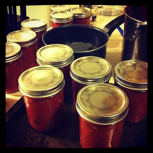 canning salsa with Melissa
