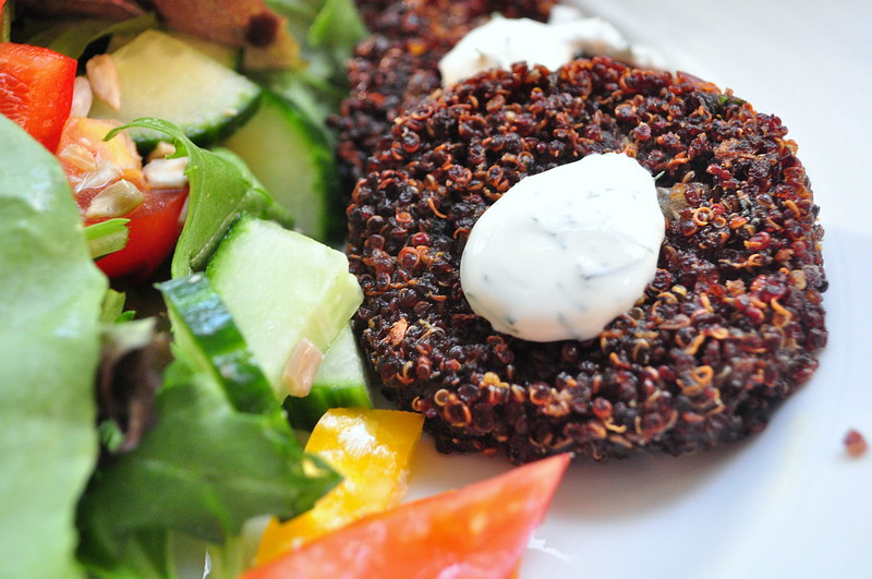 quinoa patties, healthy dinner, vegetarian