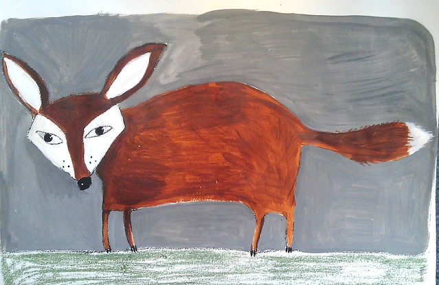 fox on paper painting