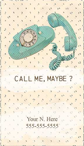 Vintage Telephone Call Me Maybe Printable Business Cards