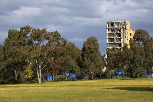 Viewed from Royal Park - only the lift core remains of the nurses home