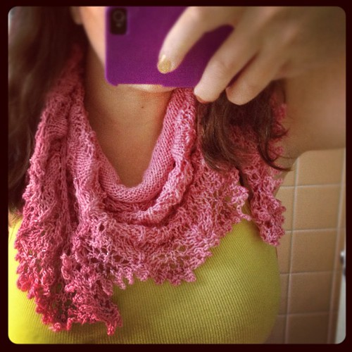 This shawl is pretty even unblocked... #ravellenic #ravellenicgames #knit #knitting #lace