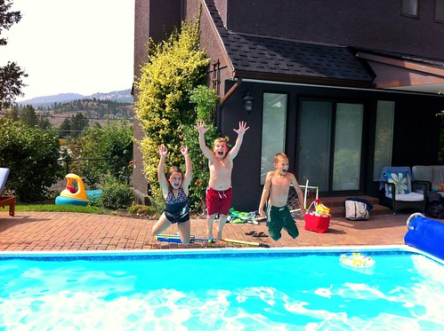 Friends of our have a pool. My kids are a little bit excited about it.