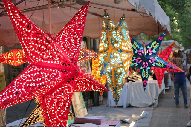 Lanterns at the Aix-en-Provence evening markets, France