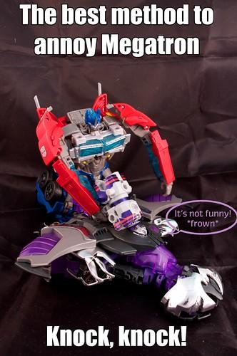 Optimus Prime playing Whac-a-Mole
