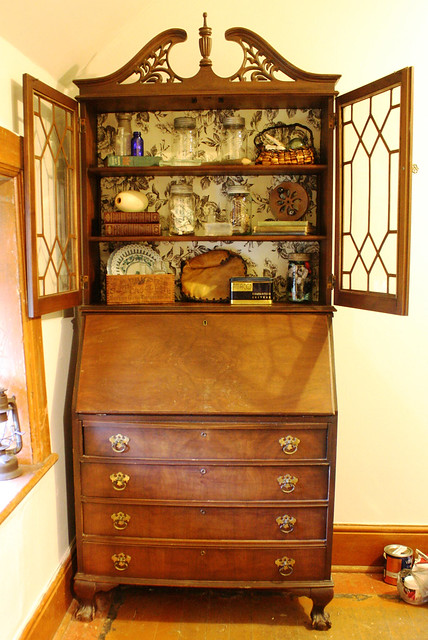 national table company antique secretary hutch