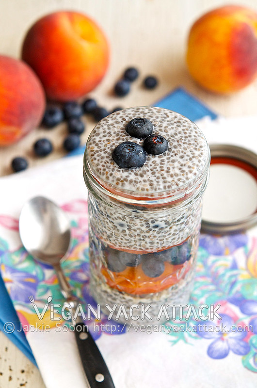 Blueberry Peach Chia Parfait - A pretty parfait with sensational vanilla chia pudding, the best peaches, and deeply colored blueberries. Gluten-free, Vegan