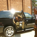 Earvin Magic Johnson Arriving At The FOX POINT Boys And Girls Club August 13 2012