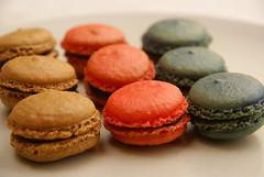cake(0.0), produce(0.0), icing(0.0), cookie(0.0), baking(1.0), sweetness(1.0), baked goods(1.0), cookies and crackers(1.0), food(1.0), macaroon(1.0), dessert(1.0), snack food(1.0),