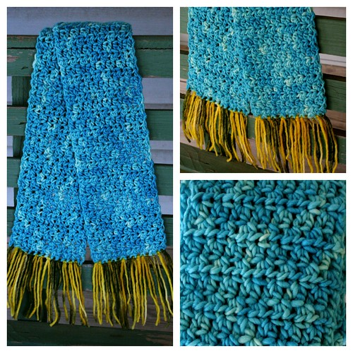 blue wool scarf collage