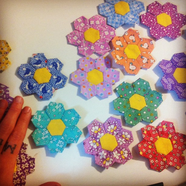 Teeny tiny hexagon flowers by my aunt! She's my craft (and life in general) hero!