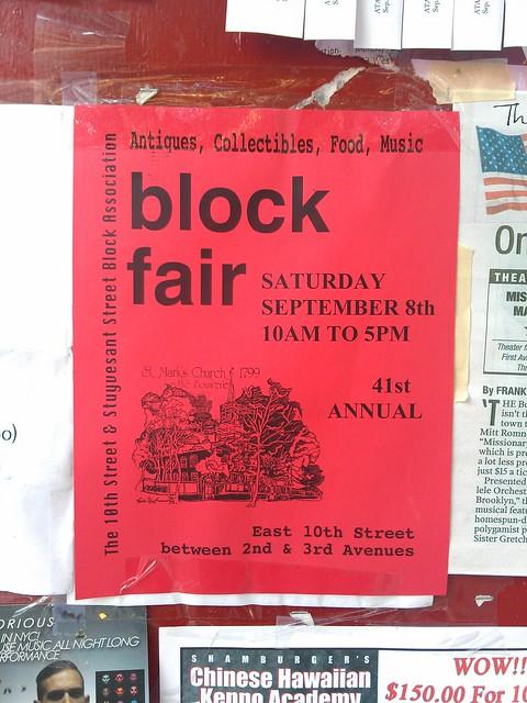 Saturday: Block fair in the East Village