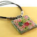 Brown leather necklace, silver plated rectangle pendant, Polymer clay flowers