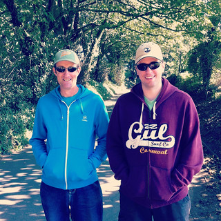 Duncan and Al enjoying the dappled  light of Jersey's green lanes - so pretty!