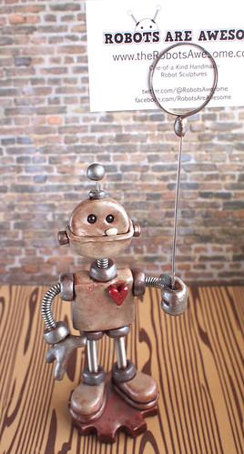 Silver Stan Mini Sign Holder Robot Sculpture by HerArtSheLoves