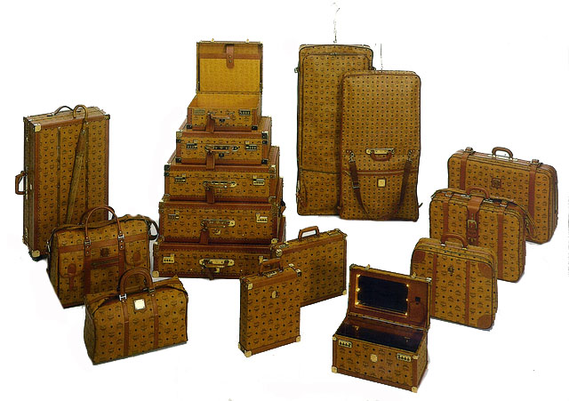 Cognac Visetos Hard Luggage Trunks 2